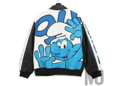 Supreme × Smurfs Leather Varsity Jacket  Blackの写真