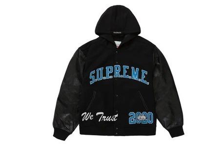 Supreme King Hooded Varsity Jacket Blackの写真