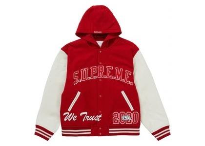 Supreme King Hooded Varsity Jacket Redの写真