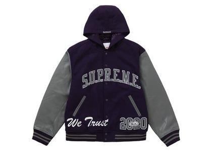 Supreme King Hooded Varsity Jacket Purpleの写真