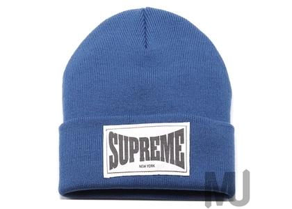 Supreme Woven Label Beanie Slateの写真