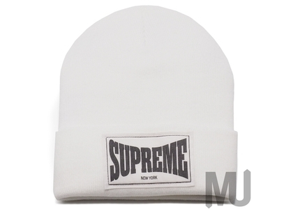 Supreme Woven Label Beanie Whiteの写真