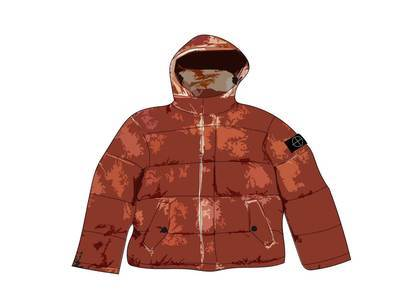 Supreme Stone Island Painted Camo Crinkle Down Jacket Coral
