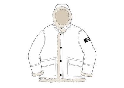 Supreme Stone Island Hand Painted Hooded Shearling Jacket Whiteの写真