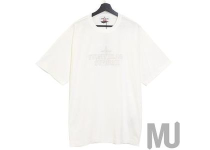 Supreme Stone Island Embroidered Logo S/S Top Whiteの写真