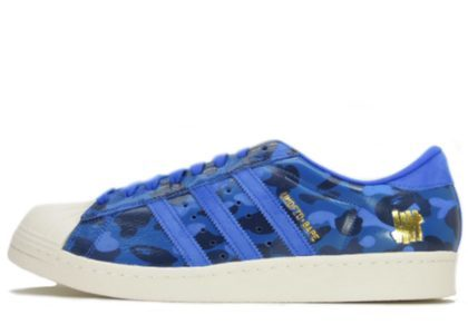 Undefeated × Bape × Adidas Superstar 80s Blue Camoの写真