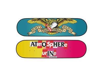 "Supreme × ANTIHERO Skateboard Multi Pink 8.25 x 32"""