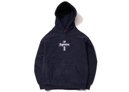 Supreme Cross Box Logo Hooded Sweatshirt Navyの写真