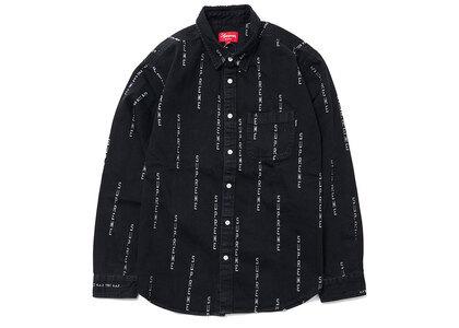 Supreme Logo Stripe Jacquard Denim Shirt Blackの写真