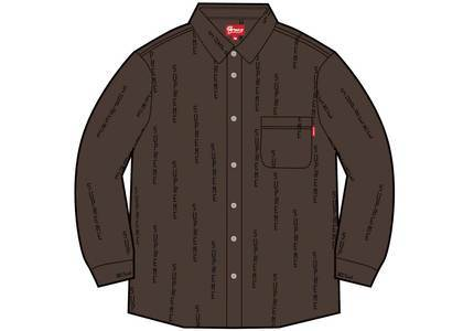 Supreme Logo Stripe Jacquard Denim Shirt Brownの写真