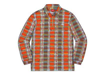 Supreme Plaid Zip Up L/S Polo Orangeの写真