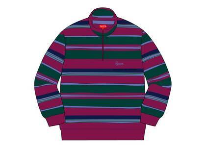 Supreme Stripe Velour Half Zip Pullover Purpleの写真