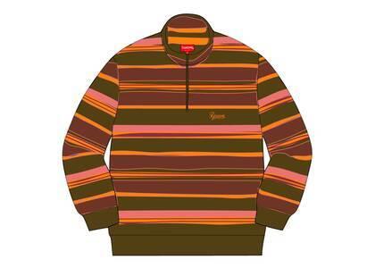 Supreme Stripe Velour Half Zip Pullover Peachの写真
