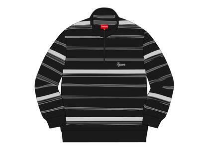 Supreme Stripe Velour Half Zip Pullover Blackの写真
