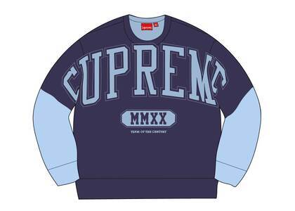 Supreme Overprint Crewneck Ice Blueの写真