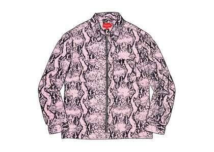 Supreme Snakeskin Corduroy Zip Up Shirt Pinkの写真