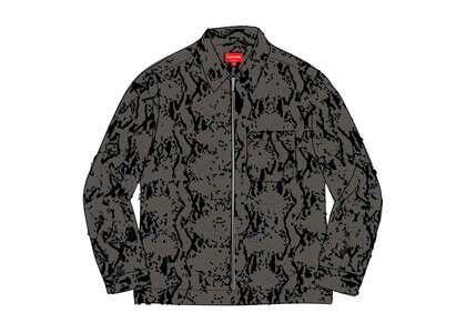 Supreme Snakeskin Corduroy Zip Up Shirt Blackの写真