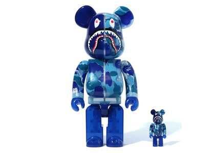 BAPE x Be@rbrick ABC Camo Shark 100% & 400% Set Clear Blueの写真