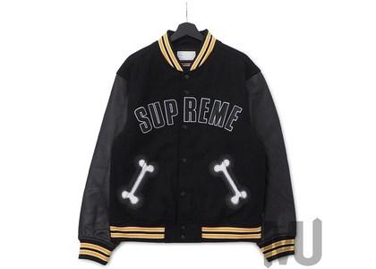 Supreme Bone Varsity Jacket Blackの写真