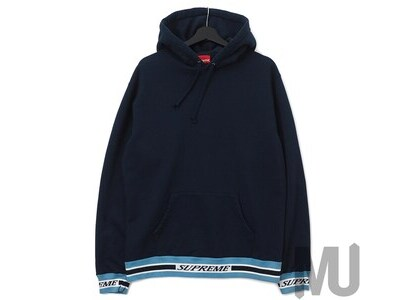 Supreme Striped Rib Hooded Sweatshirt Navyの写真