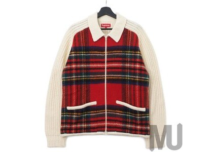 Supreme Plaid Front Zip Sweater OffWhiteの写真
