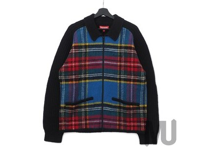 Supreme Plaid Front Zip Sweater Blackの写真