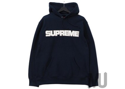 Supreme Perforated Leather Hooded Sweatshirt Navyの写真