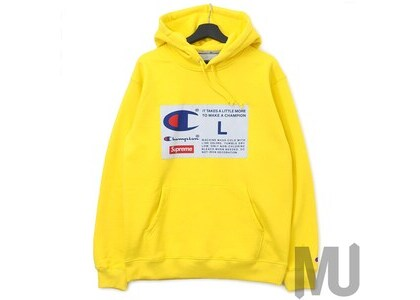 Supreme Champion Label Hooded Sweatshirt Yellowの写真