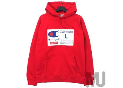 Supreme Champion Label Hooded Sweatshirt Redの写真