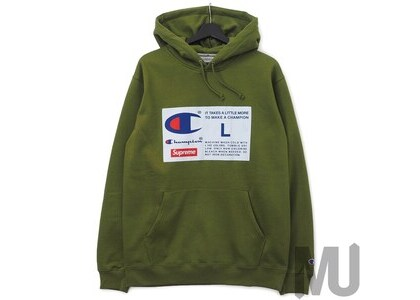 Supreme Champion Label Hooded Sweatshirt Oliveの写真