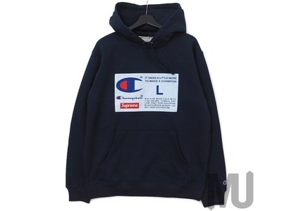 Supreme Champion Label Hooded Sweatshirt Navyの写真