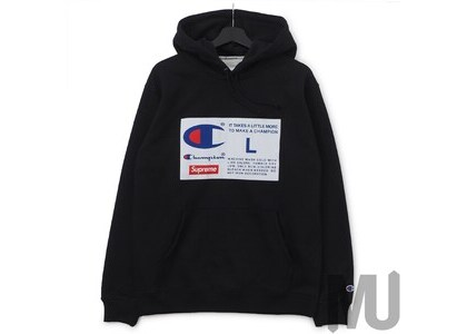 Supreme Champion Label Hooded Sweatshirt Blackの写真