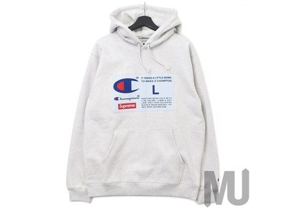 Supreme Champion Label Hooded Sweatshirt Ash Greyの写真