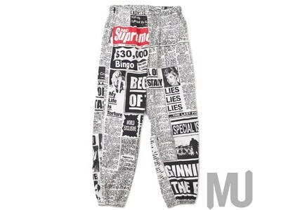 Supreme Newsprint Skate Pant Whiteの写真