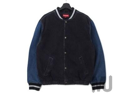 Supreme Denim Varsity Jacket Blackの写真