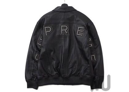 Supreme Studded Arc Logo Leather Jacket Blackの写真