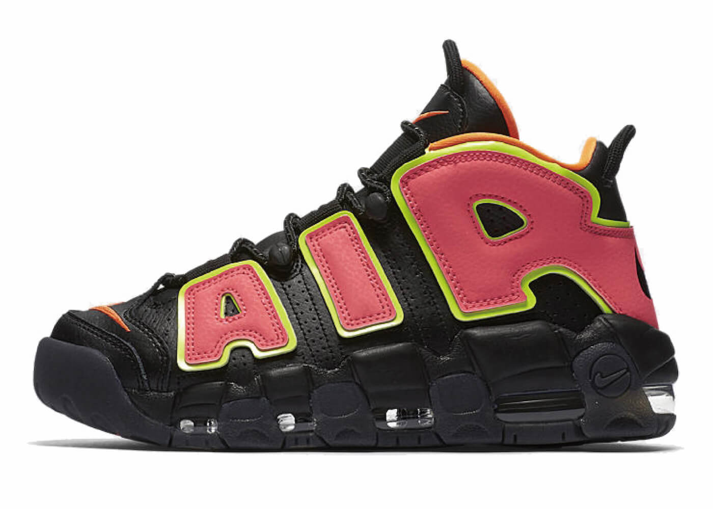 WMNS AIR MORE UPTEMPO BLACK/HOT PUNCH-VOLTの写真