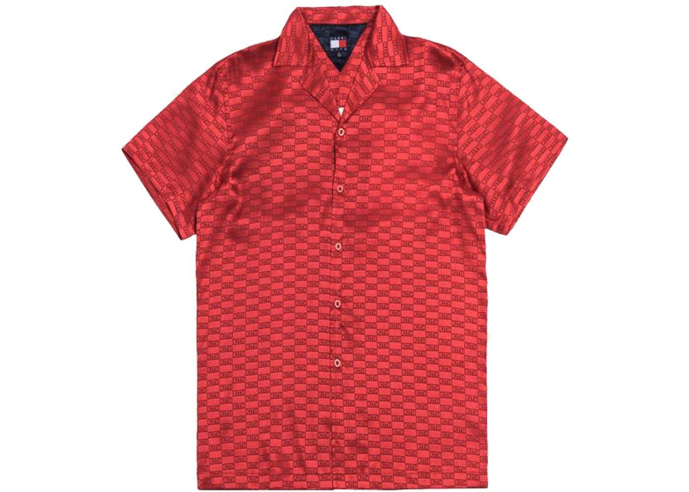 Kith x Tommy Hilfiger Satin Camp Shirt Redの写真