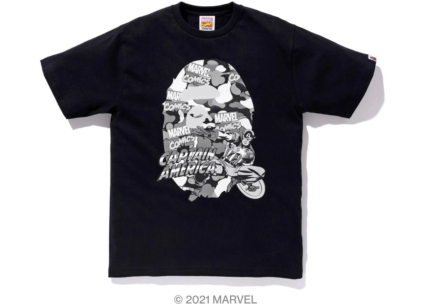 Bape x Marvel Comics Camo Captain America Tee Black (SS21)の写真