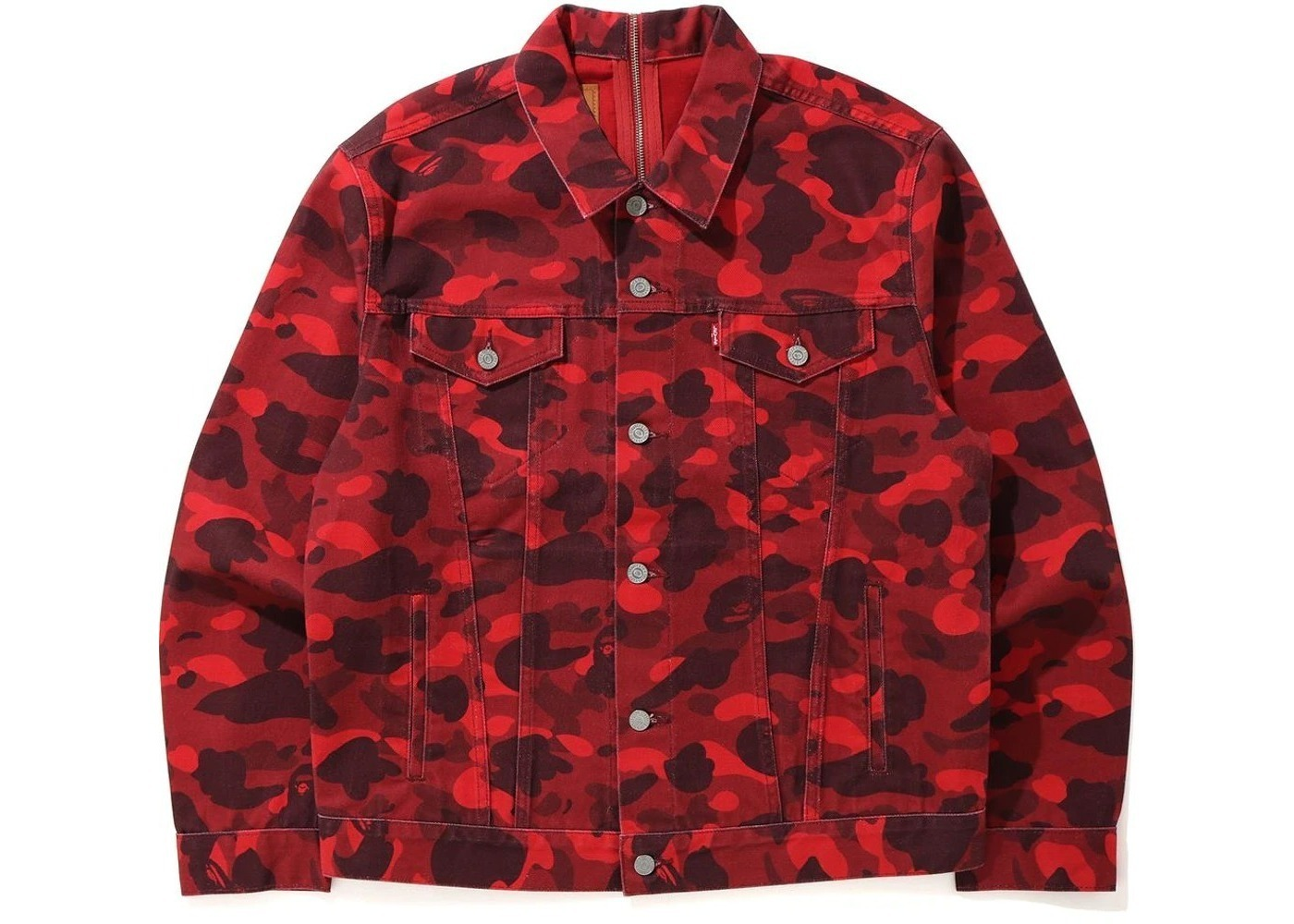 Bape x Levi's Color Camo Trucker Jacket (Europe Exclusive) Red (SS21)の写真