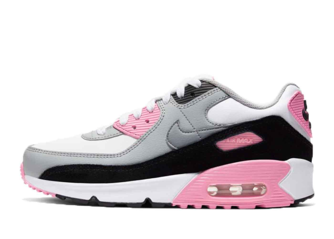 Nike Air Max 90 White/Particle Grey-Pink-Black Womens Little Kidsの写真