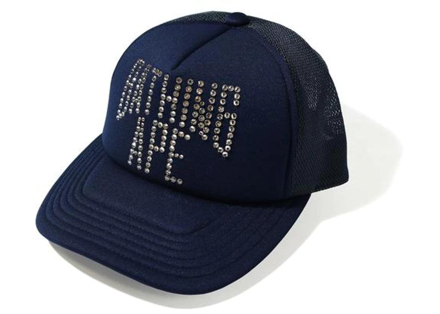 Bape NYC Logo Crystal Stone Mesh Cap Navy (FW20)の写真