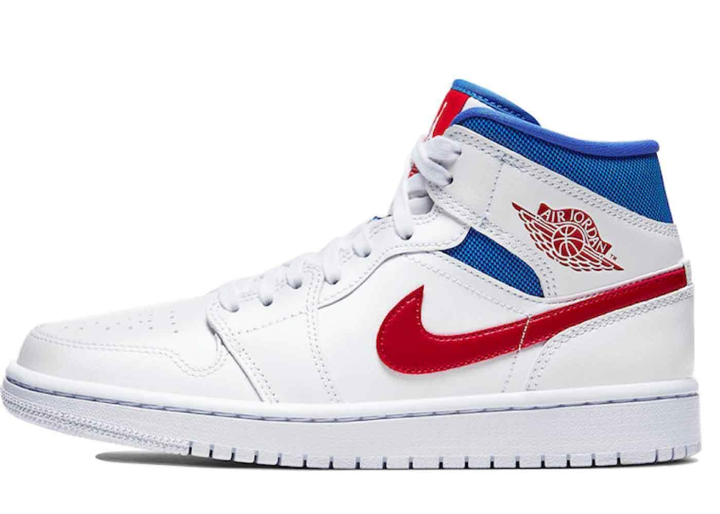 red white blue jordans 1