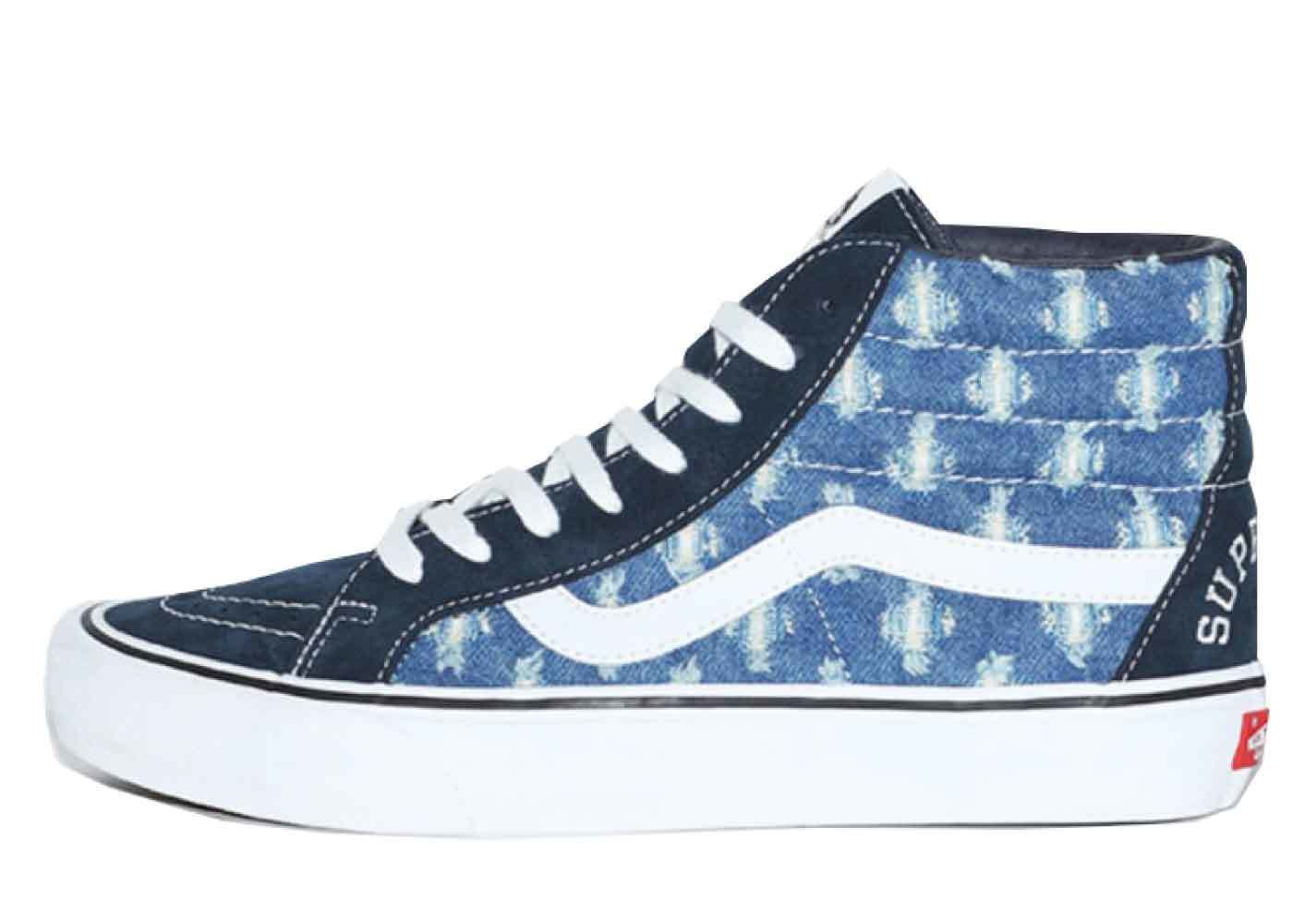 Supreme × Vans Sk-8-Hi Hoie Punch Denim Blueの写真