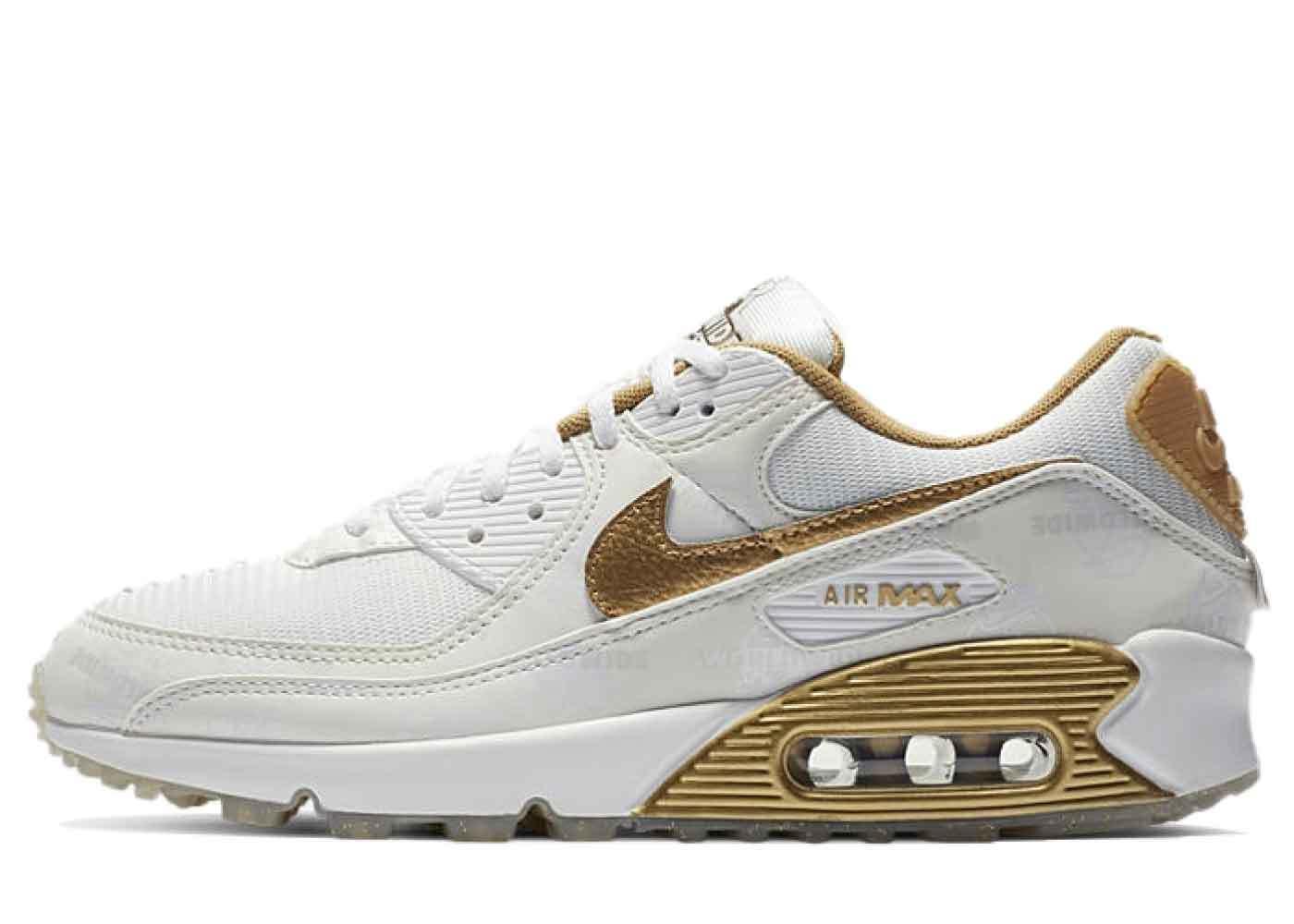 Nike Air Max 90 Worldwide Pack Katakana White Gold Womensの写真