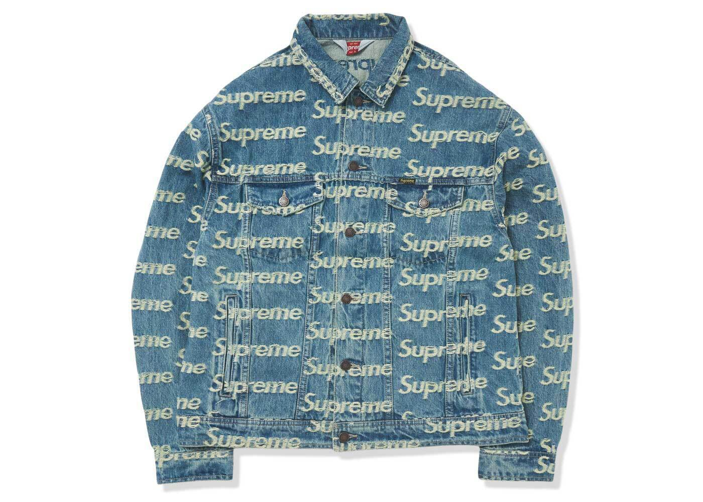 Supreme Frayed Logos Denim Trucker Jacket Blue (SS21)の写真