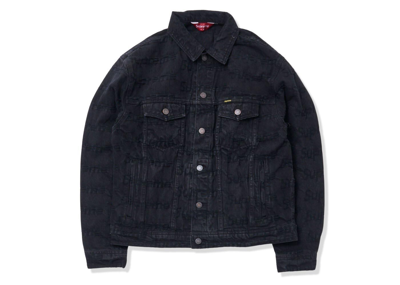 Supreme Frayed Logos Denim Trucker Jacket Black (SS21)の写真