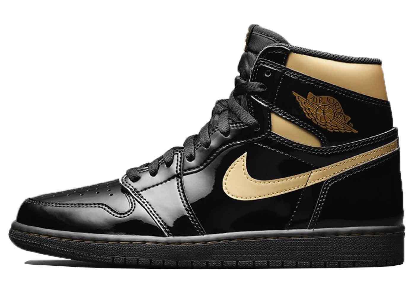 Nike Air Jordan 1 Retro High OG Patent Black Goldの写真