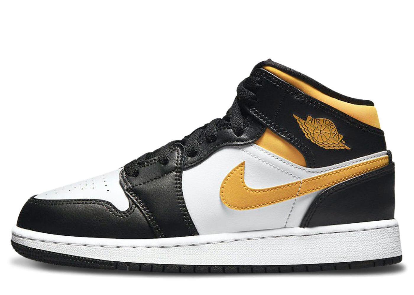 Nike Air Jordan 1 Mid University Gold GS/Blackの写真