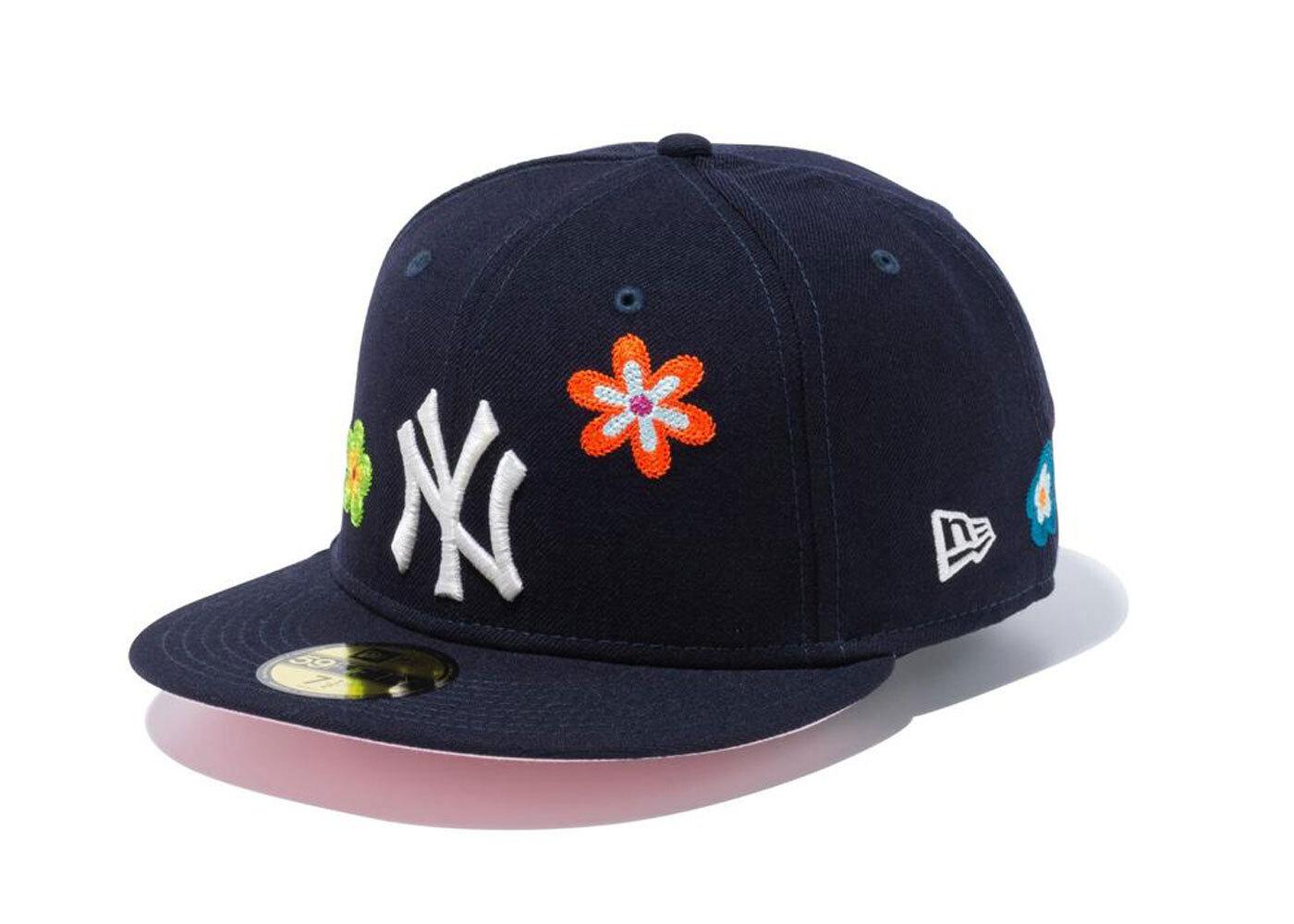 New Era 59FIFTY Chain Stitch Floral New York Yankees Pink Under Visor Navyの写真